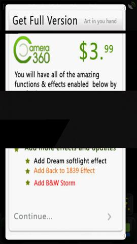 Xperia(エクスペリア)で画面キャプチャしたCamera 360 Proは起動時に有料版購入を即すメッセージが表示される
