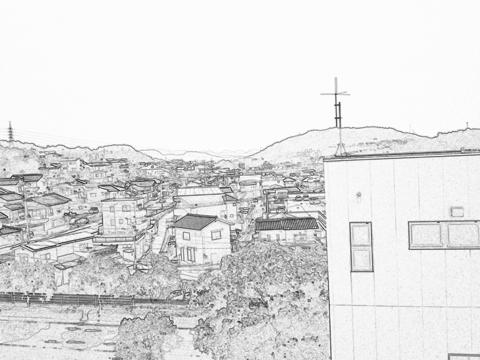 Xperia(エクスペリア)で画面キャプチャしたCamera 360 Proのラインスケッチエフェクトで撮影した風景