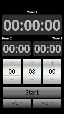 Xperia(エクスペリア)用キッチンタイマーアプリの起動画面