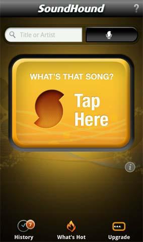SoundHoundを起動すると、いきなり「ここをタップしろ」という画像が表示